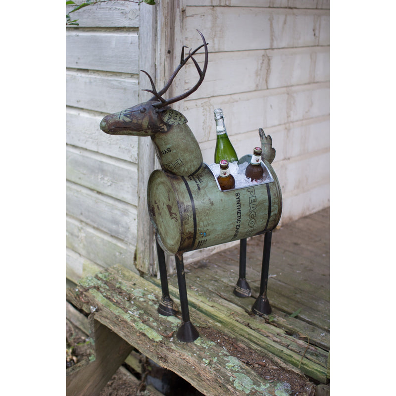 Reclaimed Metal Barrel Deer Planter or Wine Cooler - E.T. Tobey Company