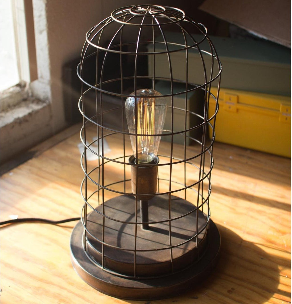 Wire Cage Desk Lamp Old Brass - E.T. Tobey Company