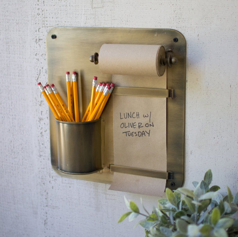 Antique Brass Hanging Note Roll and Pencil Cup