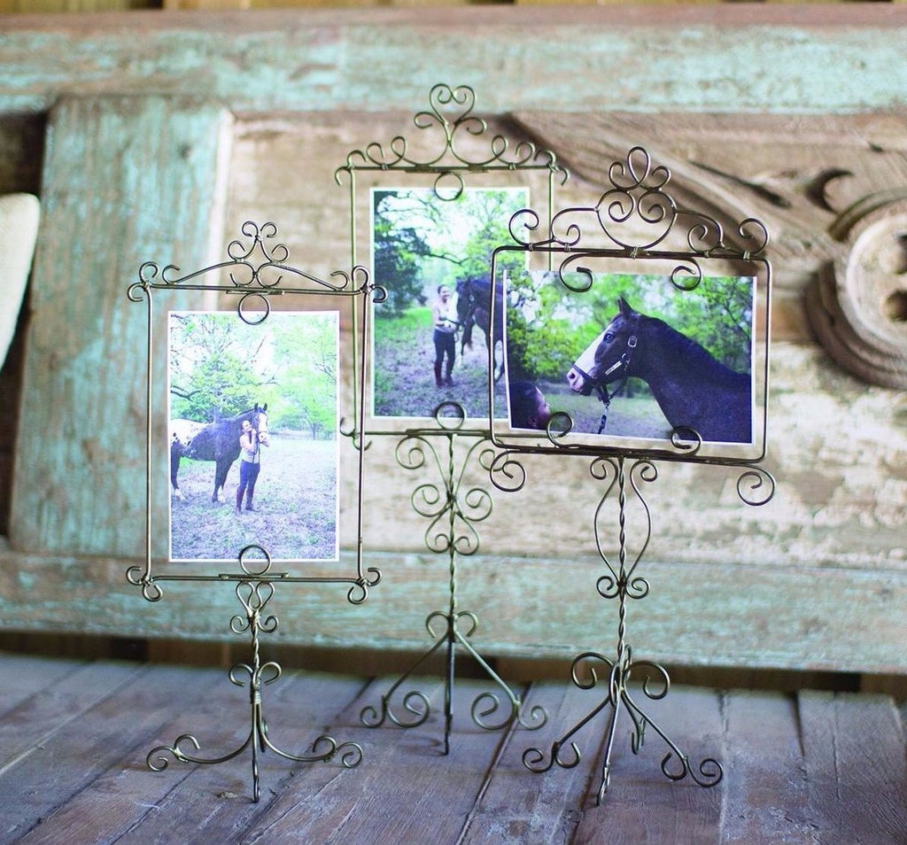 Antique Brass Wire Photo Frames on Stand - E.T. Tobey Company
