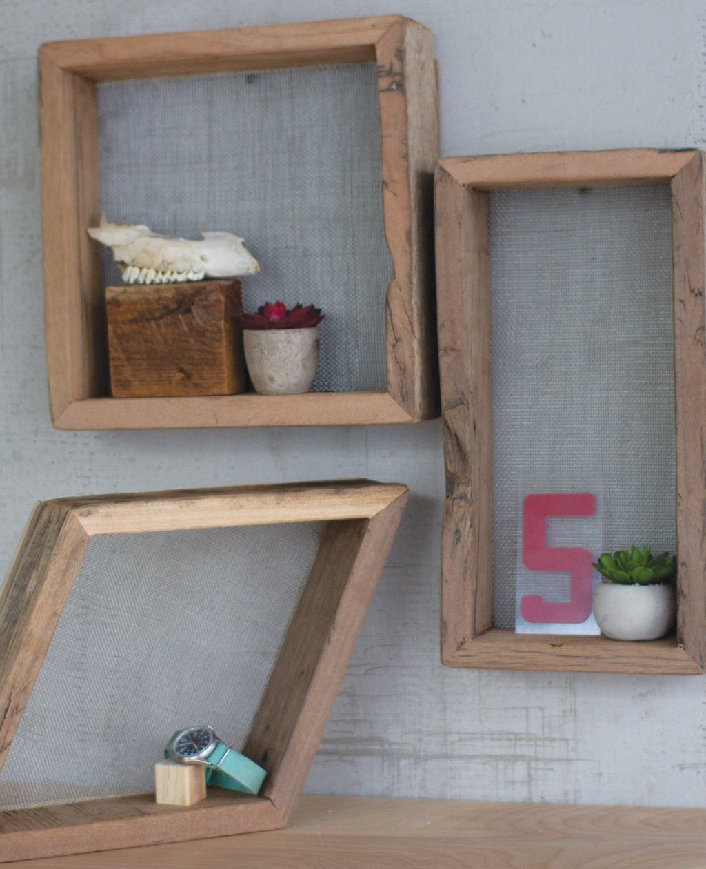 Recycled Wood Shelves With Wire Mesh