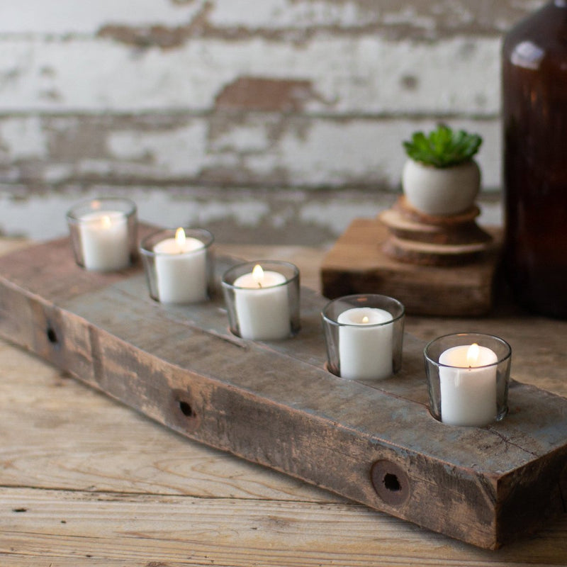 Recycled Wooden Beam with Five Glass Candle Holder