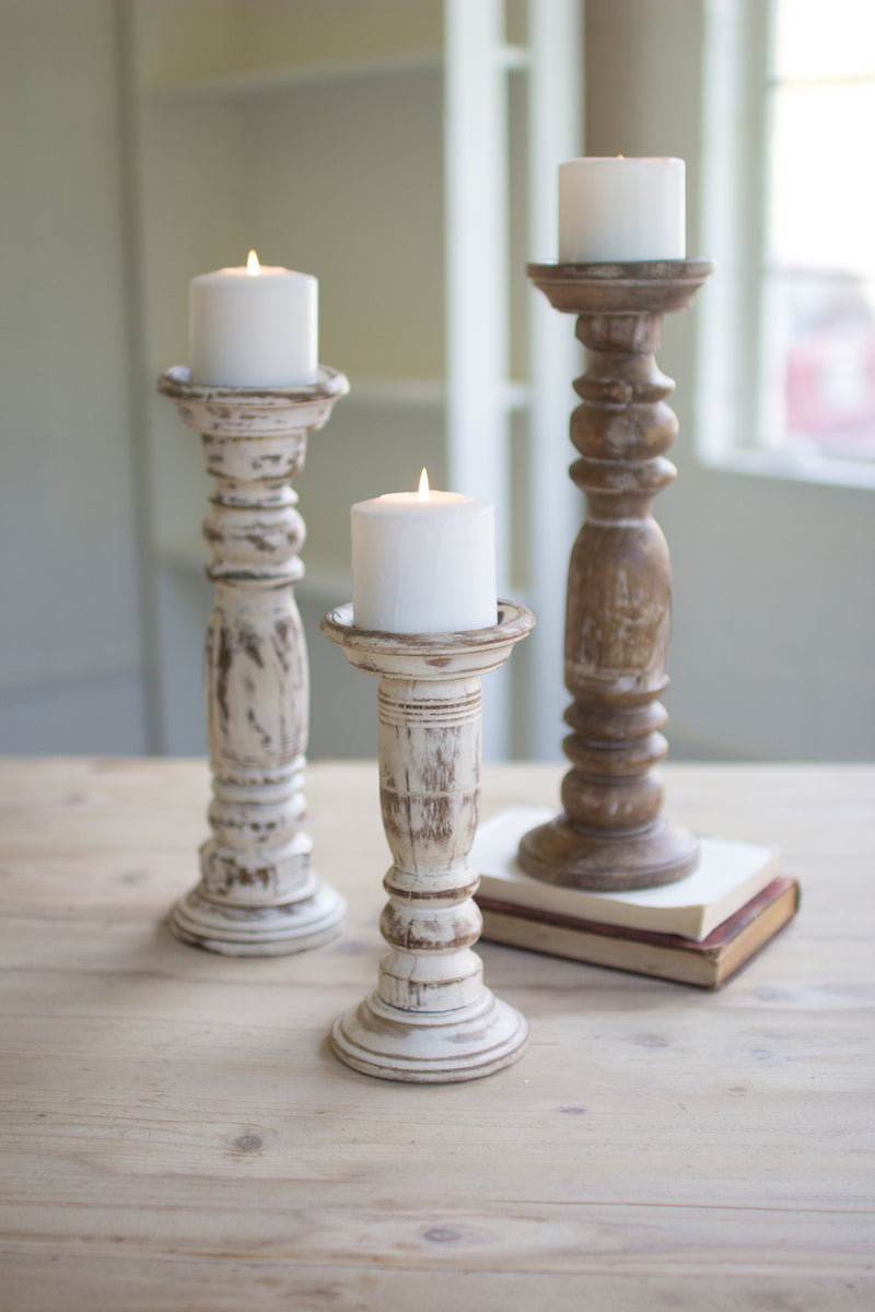 White Washed Candle Holder