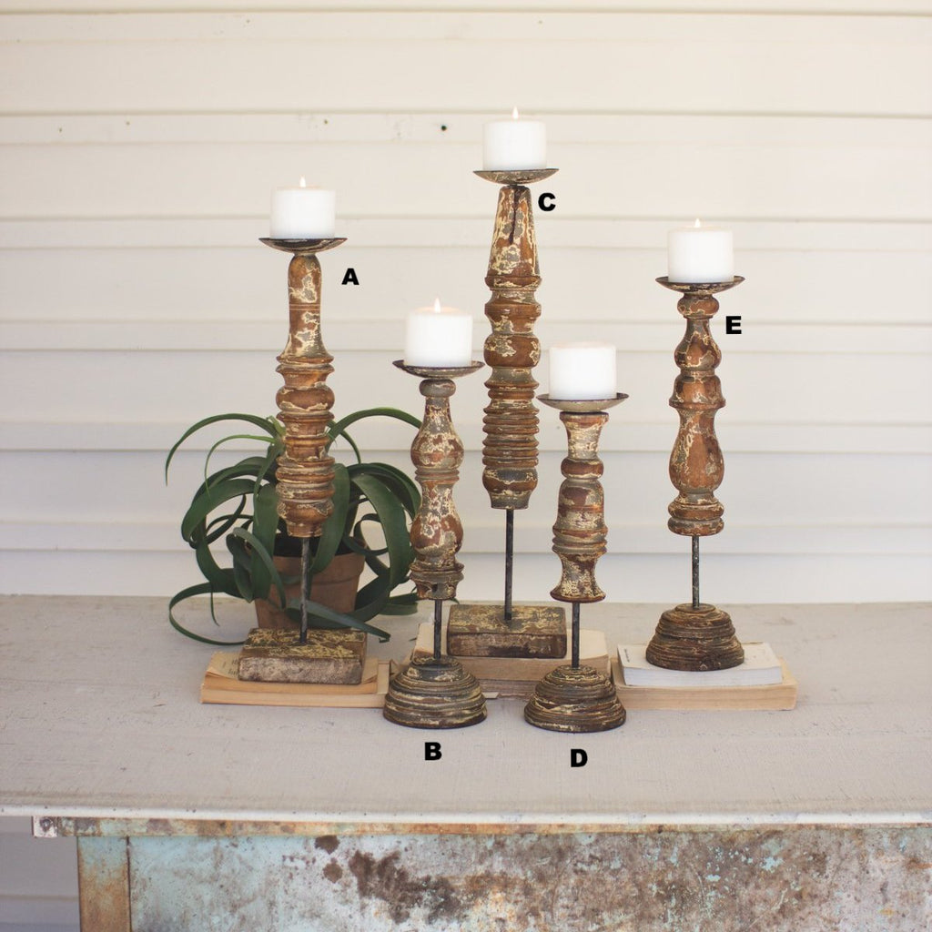 Repurposed Wooden Finial Candle Stands