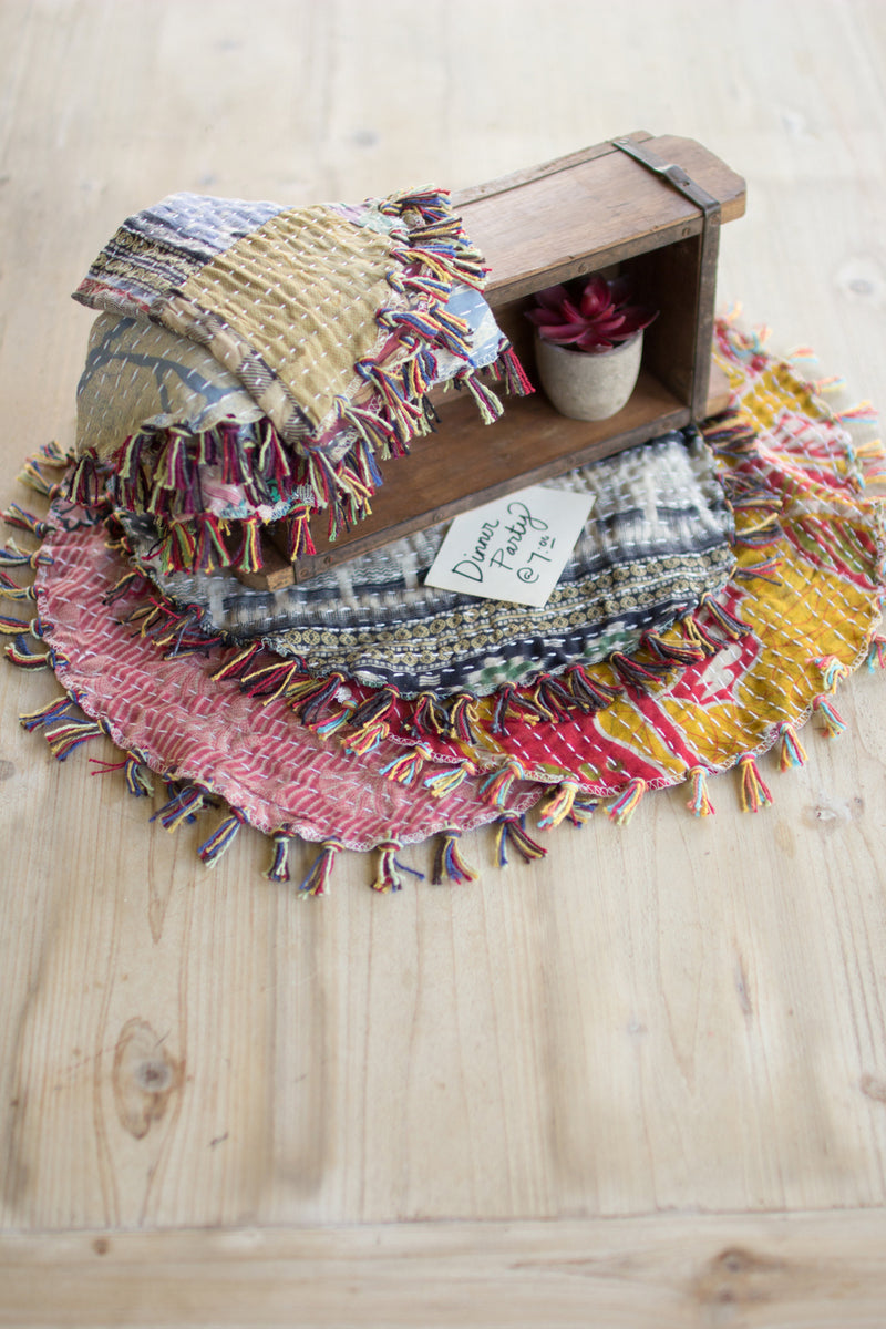 Kantha Placemats with Fringe