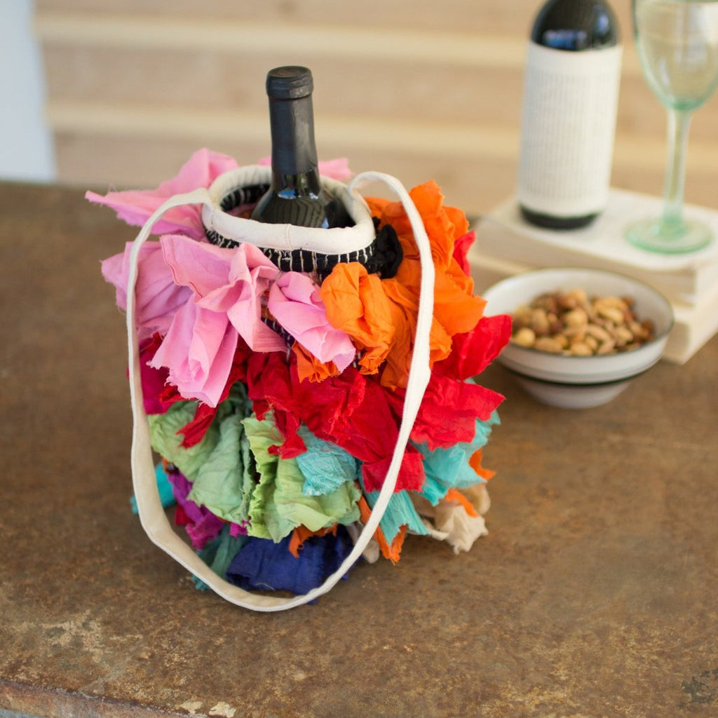 Recycled Shaggy Rag Wine Bag