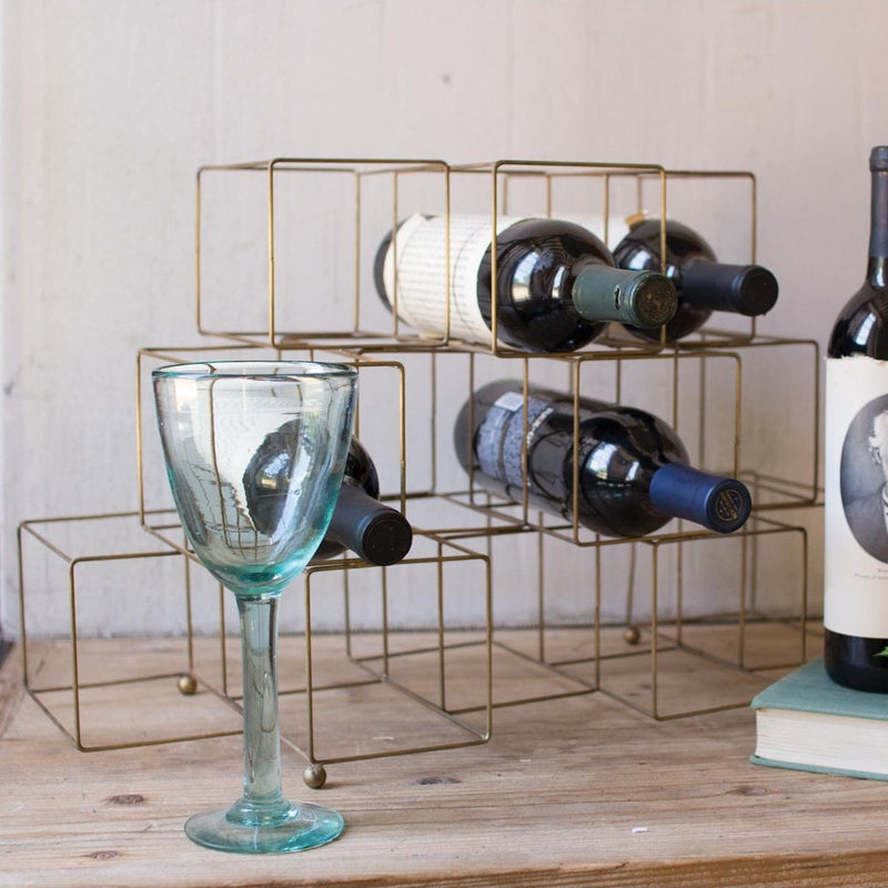 """Antique"" Brass Cube Wine Rack - Gift ideas"