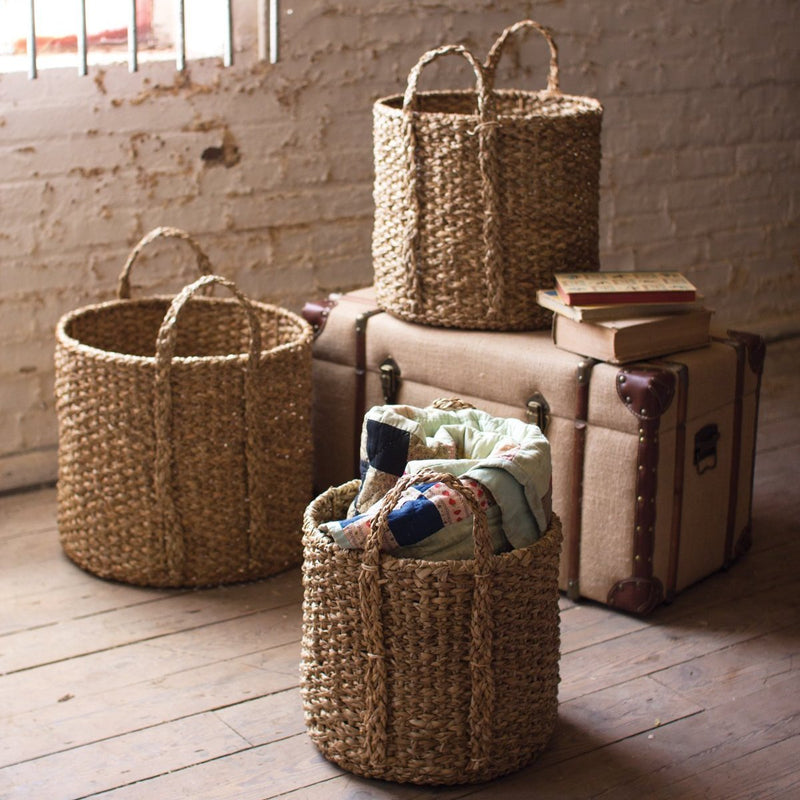 Braided Seagrass Storage Basket with Handles