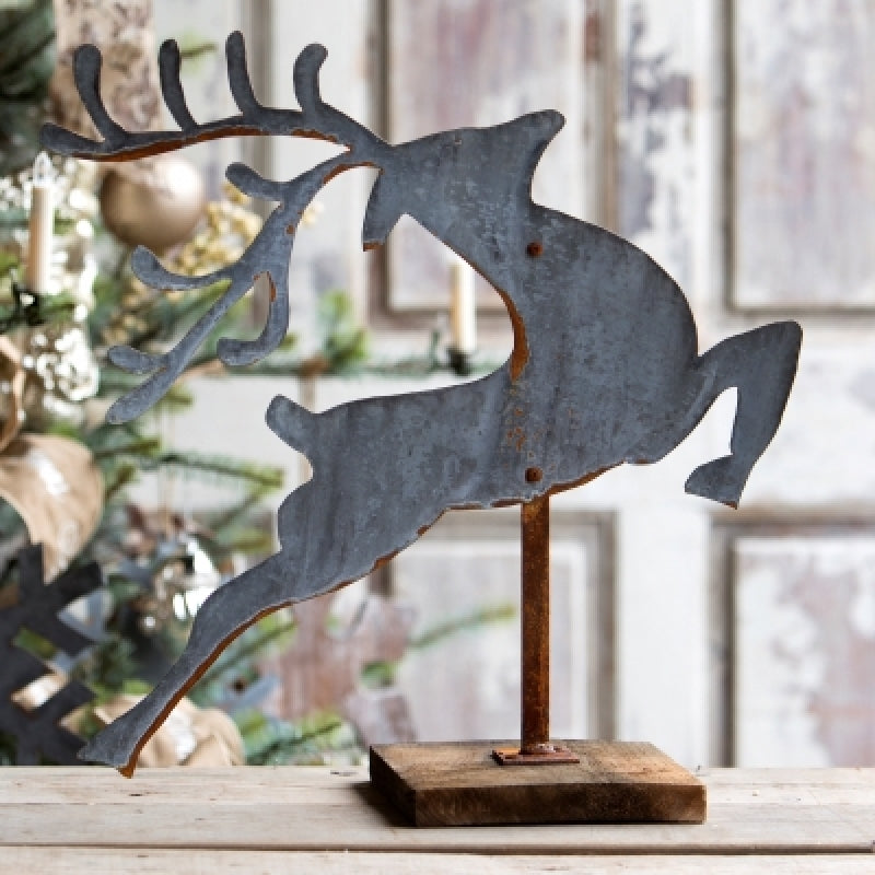 Aged Tin Leaping Reindeer on Wooden Stand - farmhouse christmas decor