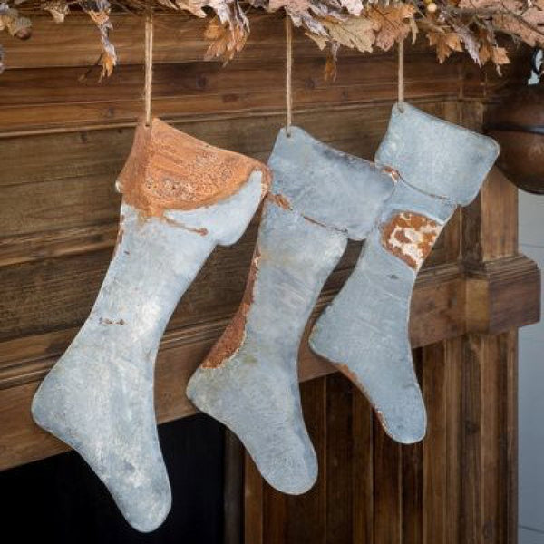 aged metal stockings - e.t. tobey company - farmhouse christmas