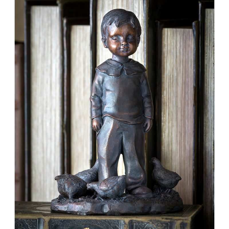 Little Boy With Chickens Statuette - E.T. Tobey Company - Magnolia Market