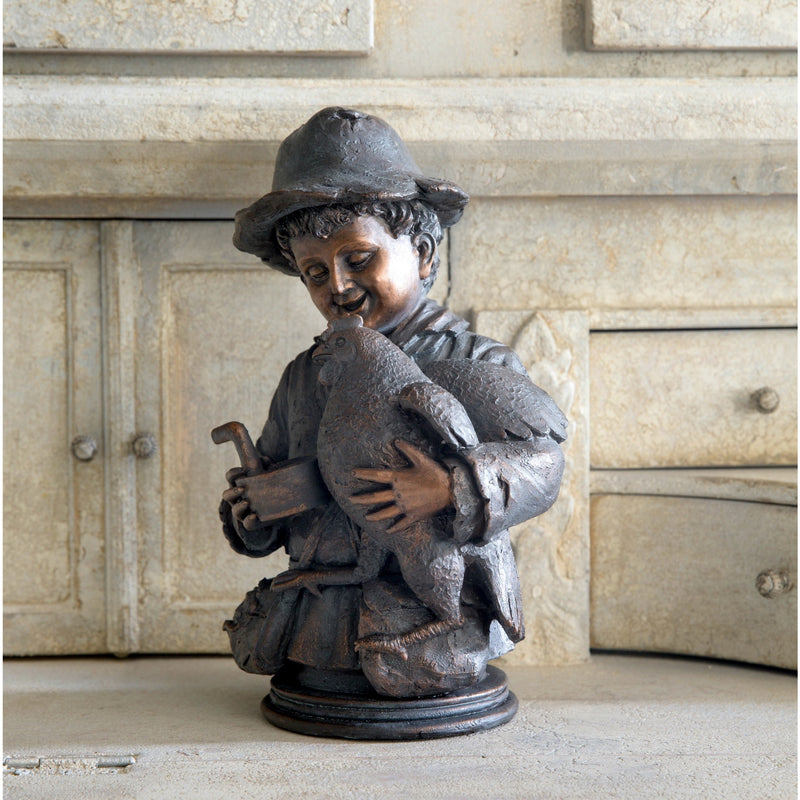 Boy With Prized Rooster Statuette - E.T. Tobey Company