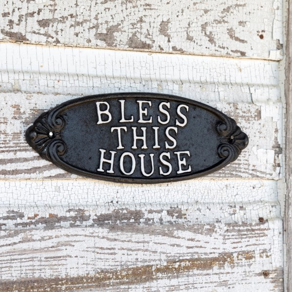 Cast Iron Bless This House Sign