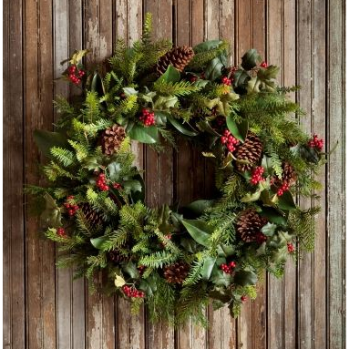 "Gathered Evergreen Wreath 32"" - E.T. Tobey Company"