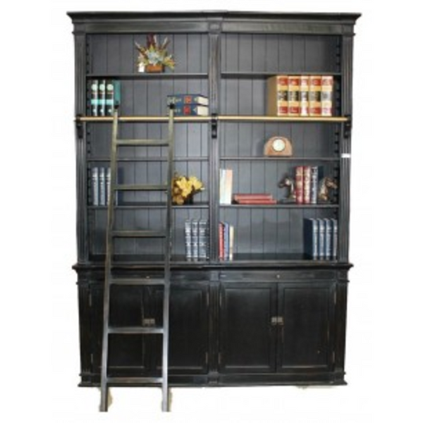 Black Bookcase with Ladder