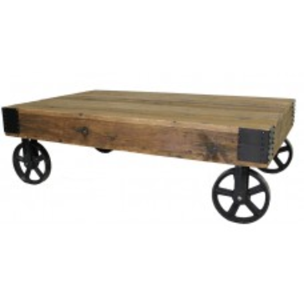 Wheeled Rustic Coffee Table - E.T. Tobey Company