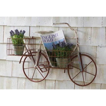 Metal Bicycle Wall Hanger w/ 2 Wire Baskets