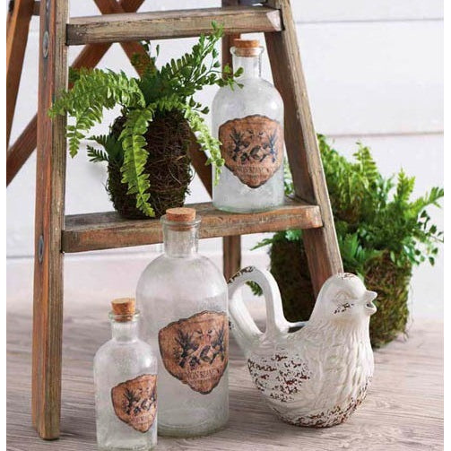 Vintage Glass Bottles w/ Butterfly Detail - Joanna Gaines Style