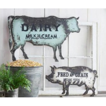Rusty Metal Cow Shaped Wall Sign - E.T. Tobey Company