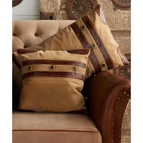 Repurposed Canvas Pillow with Leather Trim - E.T. Tobey Company