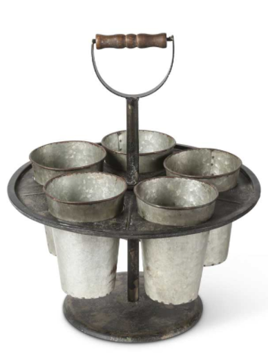 Galvanized Tin Spinning Carrier w/Wood Handle and 5 Tin Buckets
