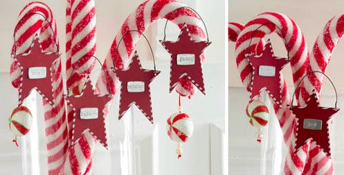 Tin Star Message Ornaments with Candy Cane Trim