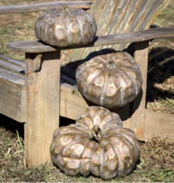 Carved Wood-Look Pumpkins