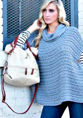 Knit Cowl Neck Button Cape