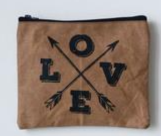 Distressed Cotton Canvas Zip Pouch