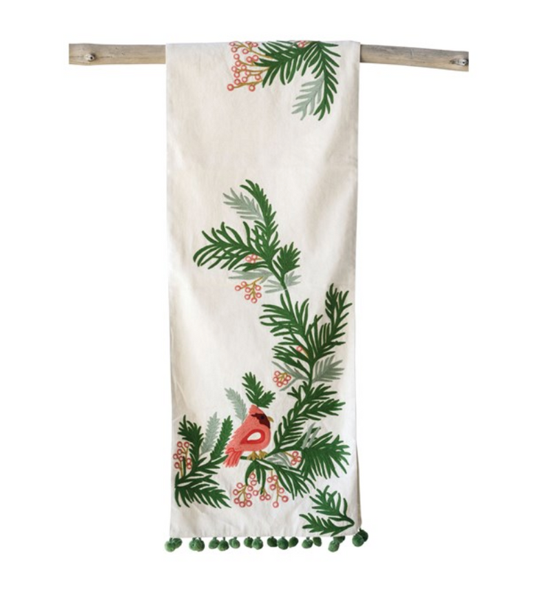 Embroidered Table Runner w/ Pine & Cardinal