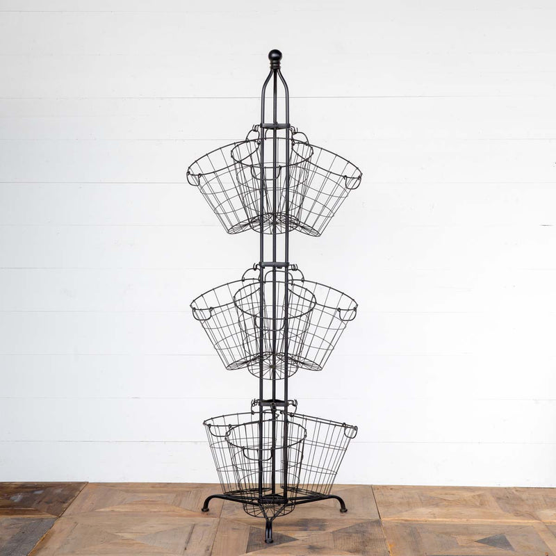 Wire Produce Basket Tower Display
