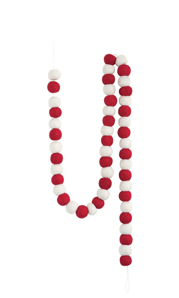 Wool Felt Pom Pom Garland, Red & White