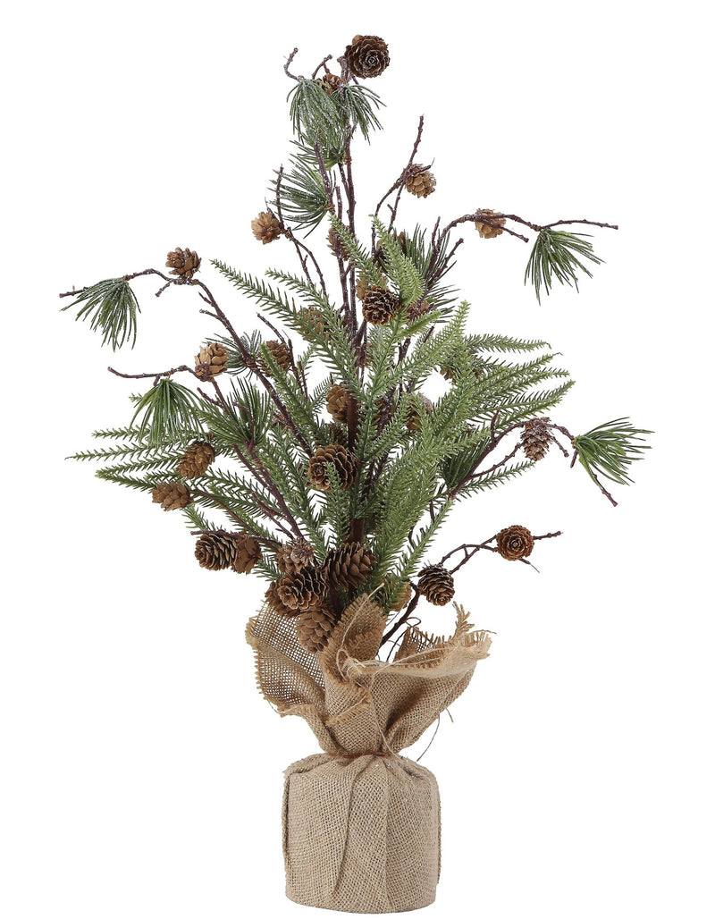 Faux Pine Tree w/ Pinecones in Burlap Wrapped Base