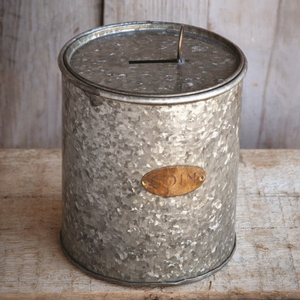 Galvanized Tin Coin Bank