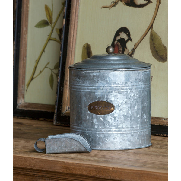 Galvanized Metal Birdseed Canister with Scoop - E.T. Tobey Company