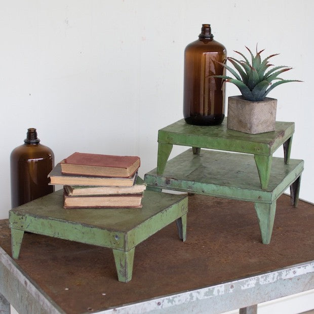 Antique Green Metal Display Risers - E.T. Tobey Company - fixer upper farmhouse