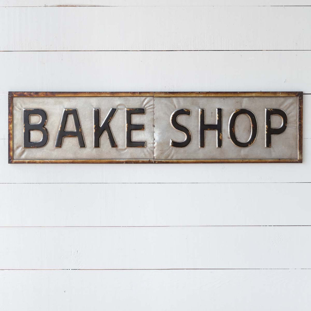 Embossed Metal Bake Shop Sign