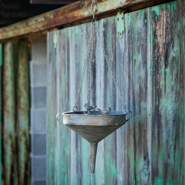 Aged Metal Funnel Bird Feeder