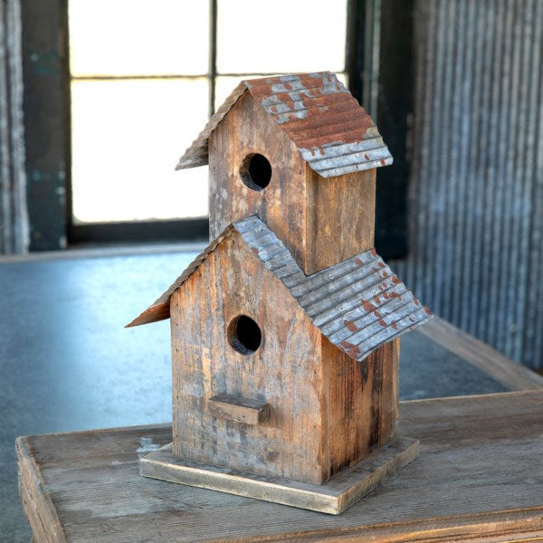 Two Story Birdhouse with Tin Roof