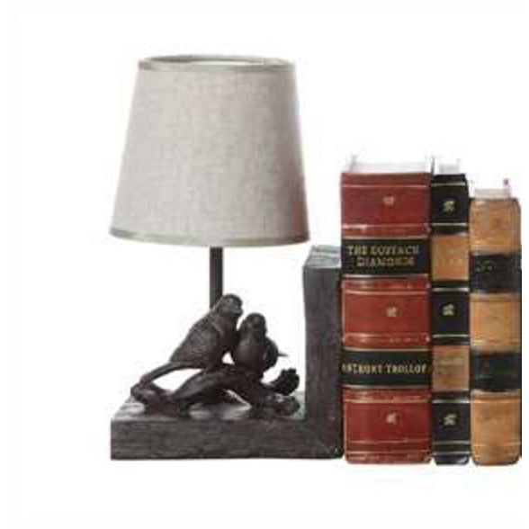 Resin Bird Lamp Bookends w/ Shades - E.T. Tobey Company