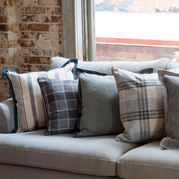 Blue Window Pane Throw Pillow