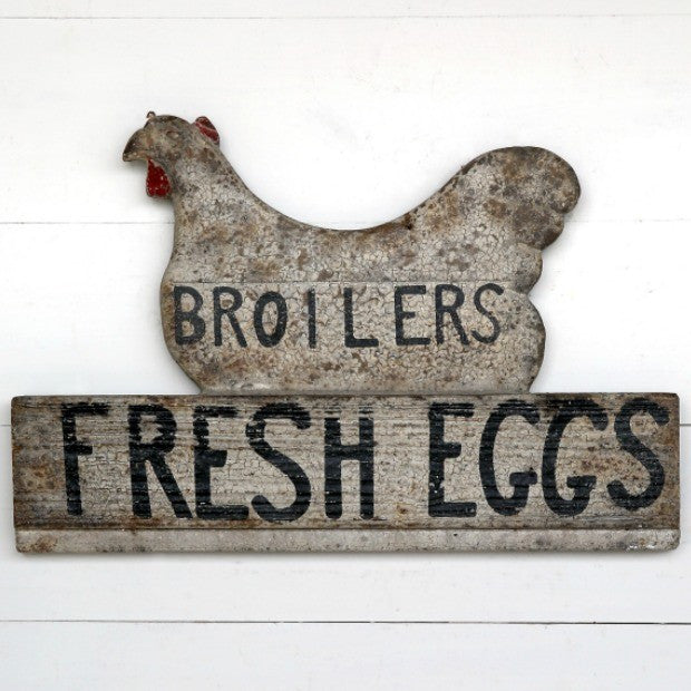 Broilers & Fresh Egg Sign - Farmhouse Kitchen