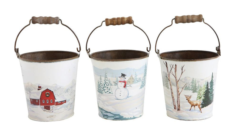 Metal Bucket w/ Paint By Number Image & Wood Handle