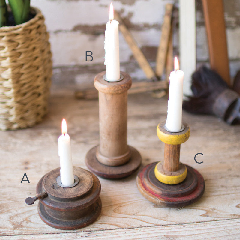 Repurposed Wooden Spool Taper Candle Holder