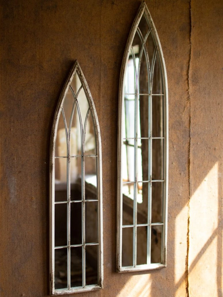 Tall Wood and Metal Church Mirror