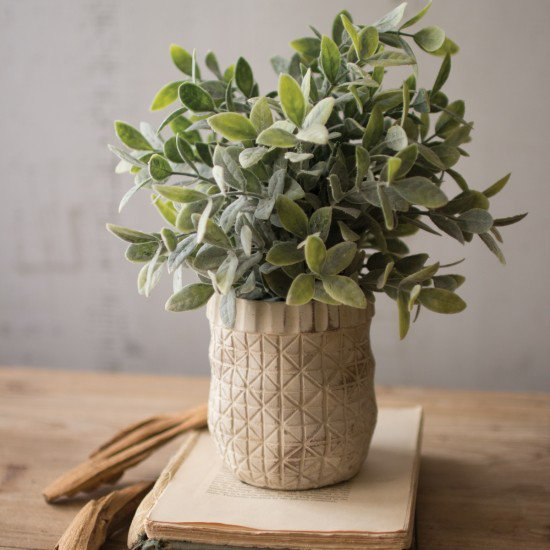 Faux Sage Plant with Criss Cross White Pot - modern farmhouse style