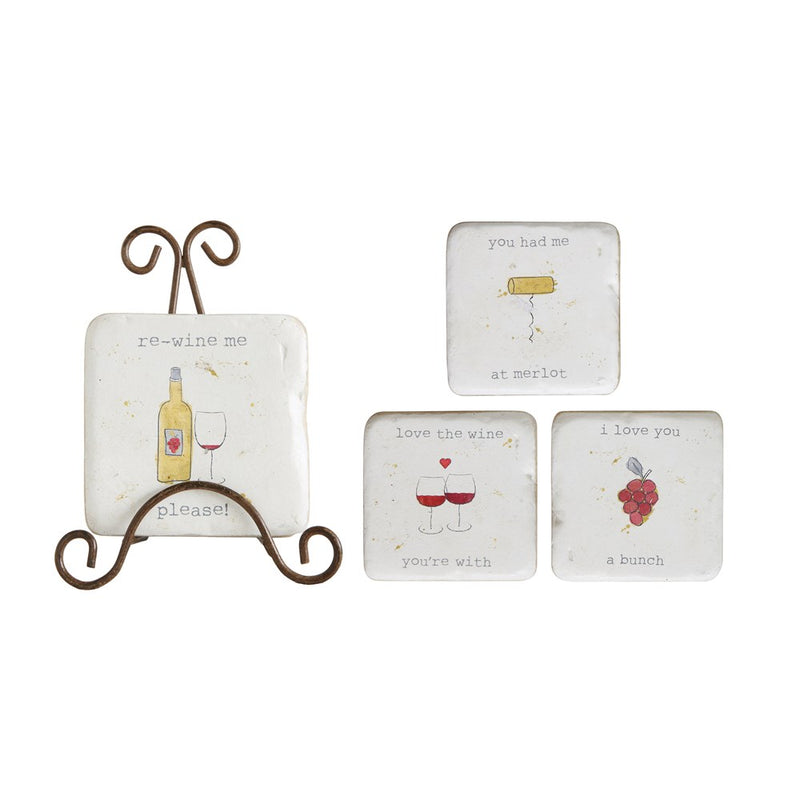 Coasters w/ Wine Saying & Metal Easel