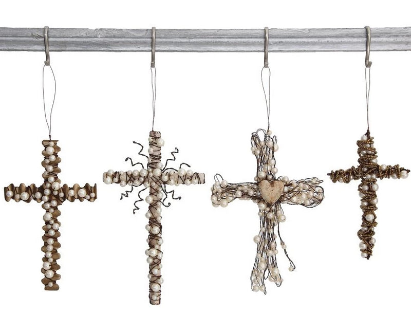 Metal Wire Cross w/ Beads