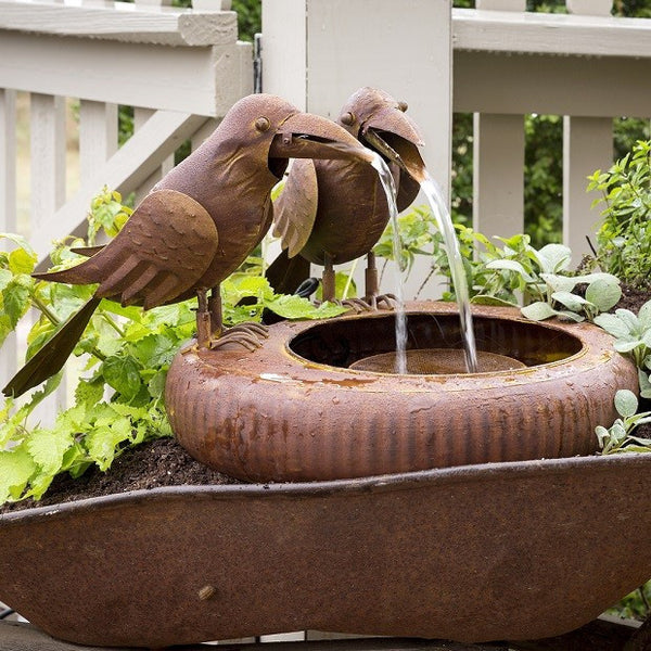Folk Art Crow Fountain - Fixer Upper Style  - Garden Art