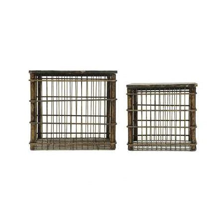 Metal Baskets w/ Wood Tops - Distressed Black - E.T. Tobey Company